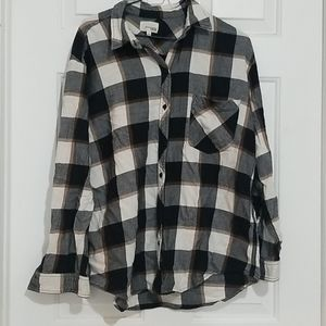 Aritzia Wilfred Free Plaid Oversize Flannel Shirt